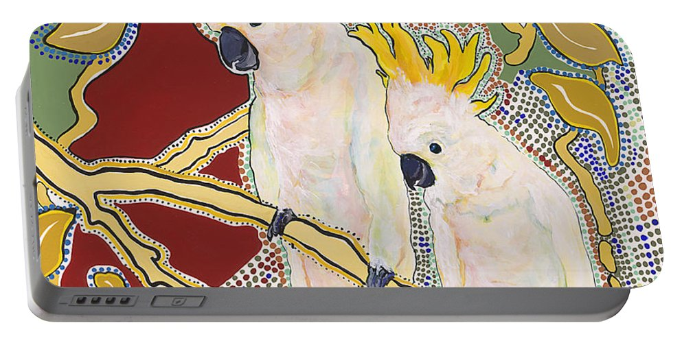 Pat Saunders-white Portable Battery Charger featuring the painting Sanctuary by Pat Saunders-White