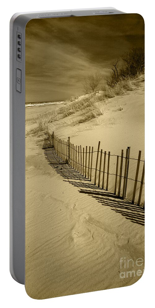 Sand Dunes Portable Battery Charger featuring the photograph Sand Dunes And Fence by Timothy Johnson