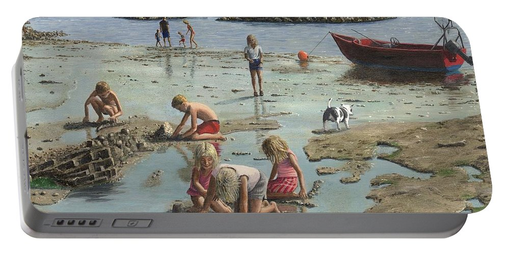 Landscape Portable Battery Charger featuring the painting Sandcastles by Richard Harpum