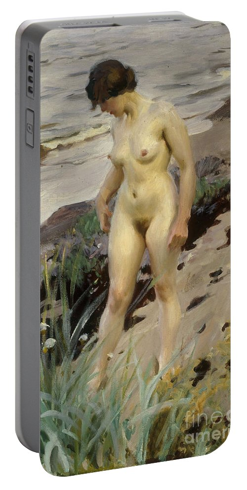 Sandhamn; Study; Female; Woman; Nude; Full Length; Standing; Nude; Naked; Walking; Sea; Coast; Coastal; Shore; Shoreline; Rocks; Rocky; Landscape; Ocean; Tide Portable Battery Charger featuring the painting Sandhamn Study by Anders Leonard Zorn