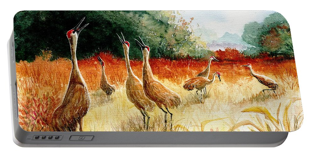 Sandhill Cranes Portable Battery Charger featuring the painting Sandhill Serenade by Marilyn Smith