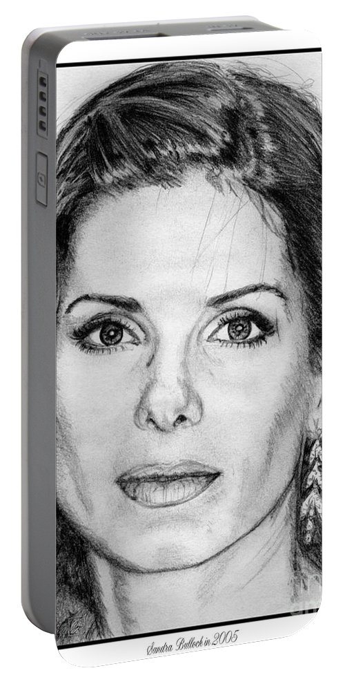 Sandra Bullock Portable Battery Charger featuring the drawing Sandra Bullock In 2005 by J McCombie