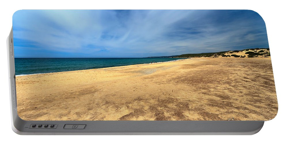 Bay Portable Battery Charger featuring the photograph sandy beach in Piscinas by Antonio Scarpi
