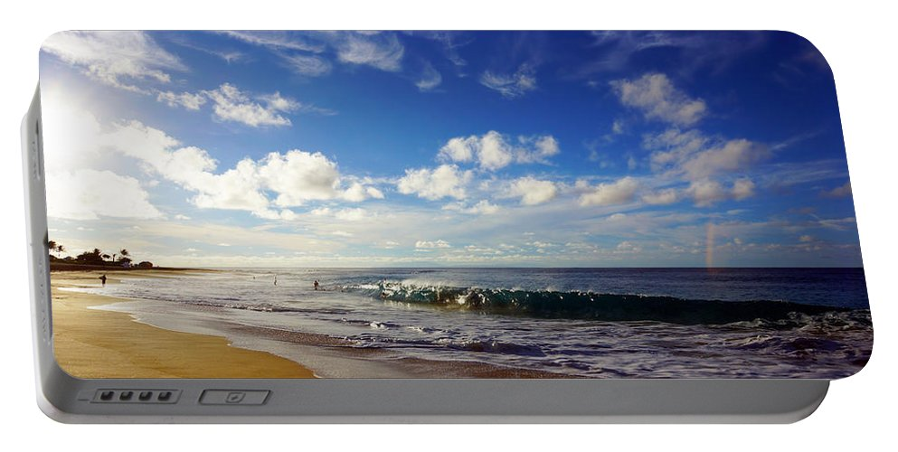 Sandy Beach Portable Battery Charger featuring the photograph Sandy Beach Morning Rainbow by Kevin Smith