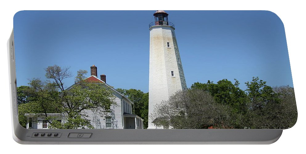 Lighthouse Portable Battery Charger featuring the photograph Sandy Hook Lighthouse IIi - N J by Christiane Schulze Art And Photography
