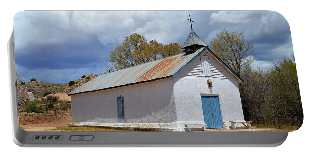 Sangre De Cristo Chapel Portable Battery Charger featuring the photograph Sangre De Cristo Chapel In Cuartelez In New Mexico by Catherine Sherman
