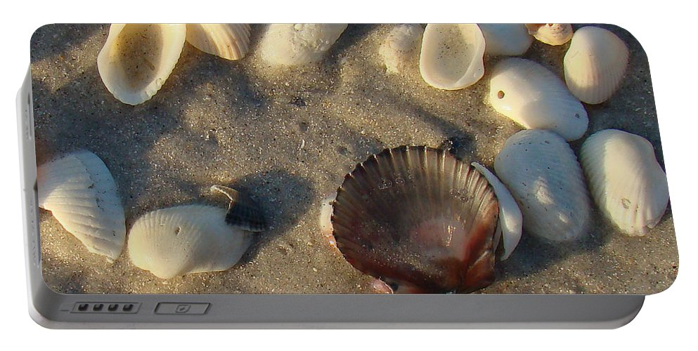 Scallop Portable Battery Charger featuring the photograph Sanibel Island Shells 5 by Nancy L Marshall