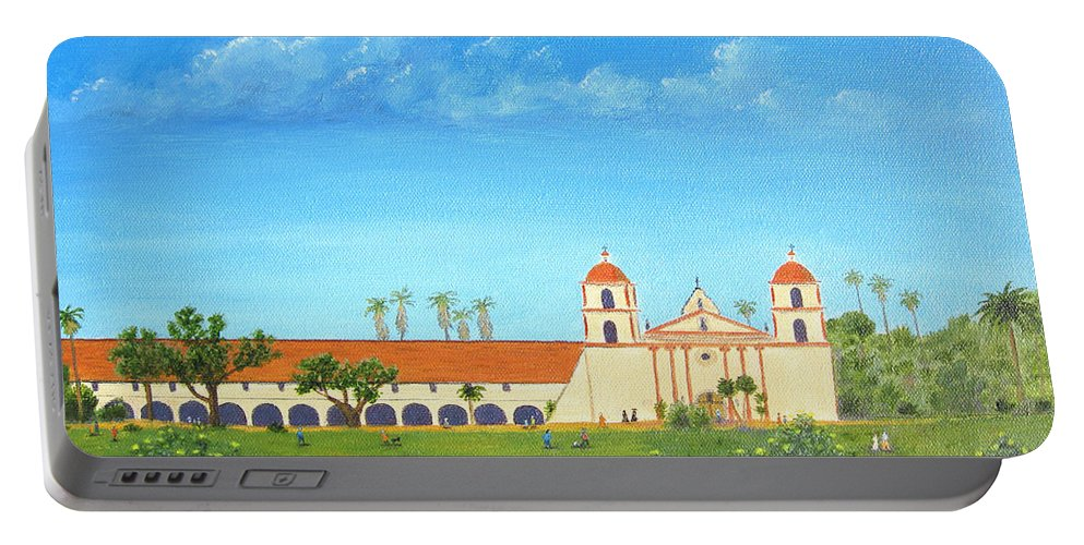 Santa Barbara Portable Battery Charger featuring the painting Santa Barbara Mission by Jerome Stumphauzer