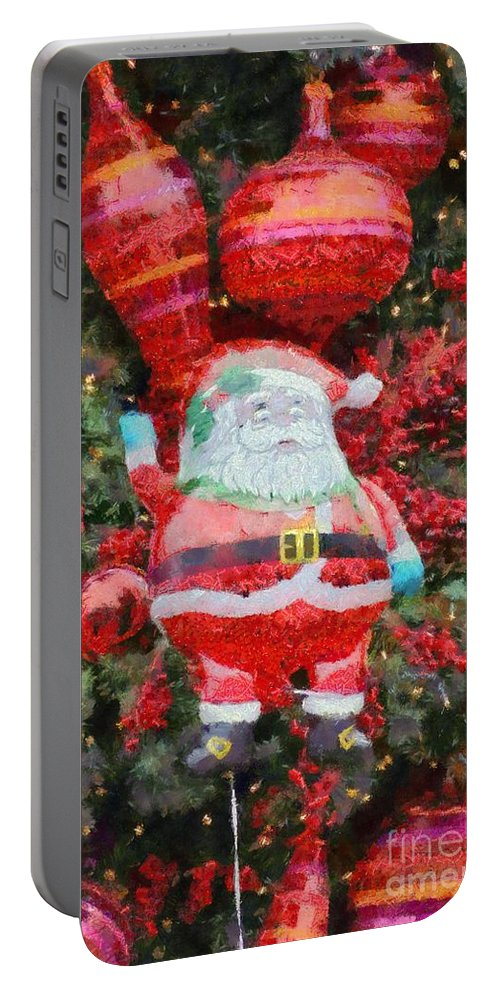 Christmas Portable Battery Charger featuring the painting Santa Claus Balloon by George Atsametakis