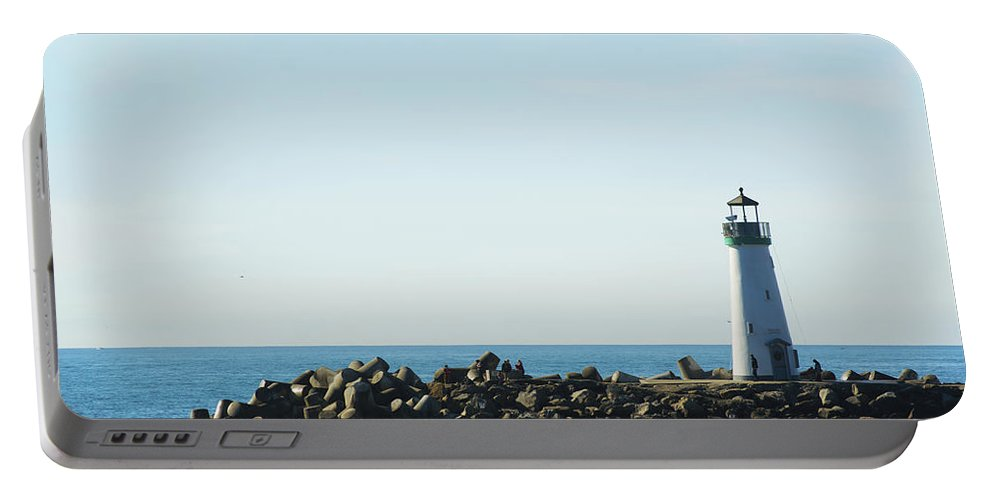 Barbara Snyder Portable Battery Charger featuring the digital art Santa Cruz California Lighthouse by Barbara Snyder