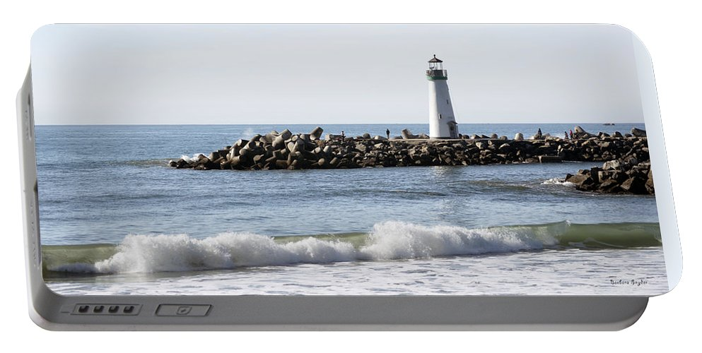 Barbara Snyder Portable Battery Charger featuring the digital art Santa Cruz Lighthouse Wave Wide by Barbara Snyder