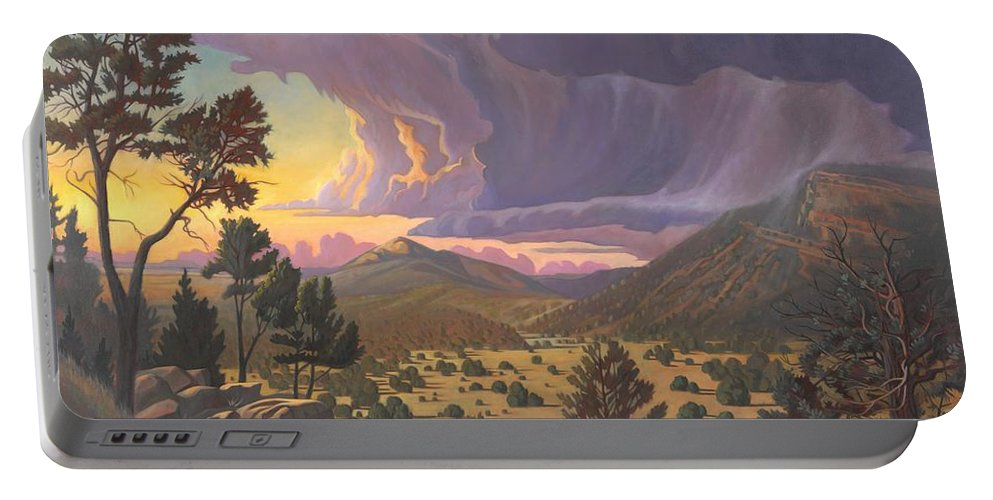 Santa Fe Portable Battery Charger featuring the painting Santa Fe Baldy by Art West
