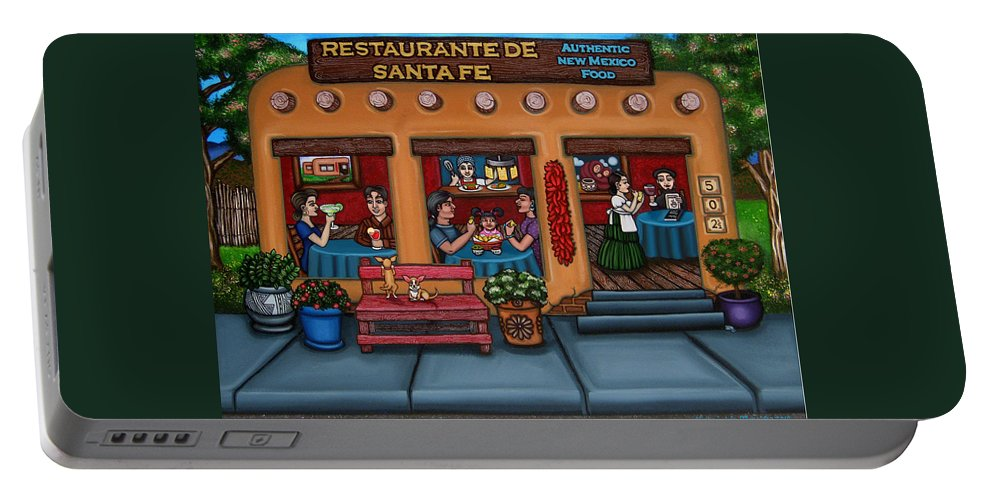 Folk Art Portable Battery Charger featuring the painting Santa Fe Restaurant by Victoria De Almeida