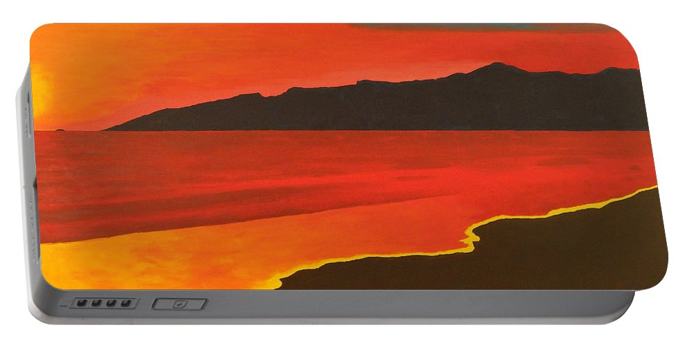 Seascape Portable Battery Charger featuring the painting Santa Monica Beach And Mountains by Brenda Helt