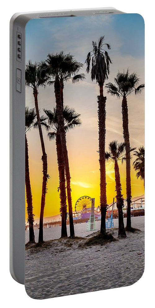 Los Angeles Portable Battery Charger featuring the photograph Santa Monica Palms by Az Jackson