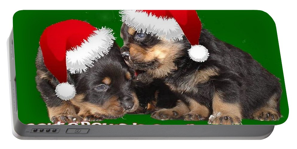 Christmas Portable Battery Charger featuring the photograph Santa Paws Is Coming To Town Christmas Greeting by Taiche Acrylic Art