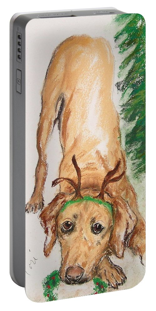 Labrador Portable Battery Charger featuring the drawing Santa's Helper by Cori Solomon
