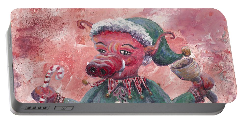 Elf Portable Battery Charger featuring the painting Santa's Littlest Elf Hog by Nadine Rippelmeyer