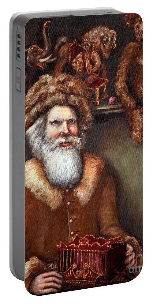 Holiday Art Portable Battery Charger featuring the painting Santas Special Toys by Portraits By NC