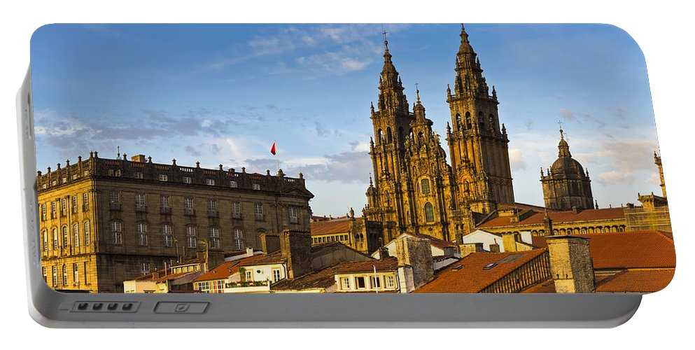 Panorama Portable Battery Charger featuring the photograph Santiago De Compostela Cathedral Galicia Spain by Pablo Avanzini