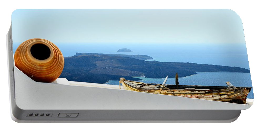 Santorini Portable Battery Charger featuring the photograph Santorini Rooftop by Corinne Rhode