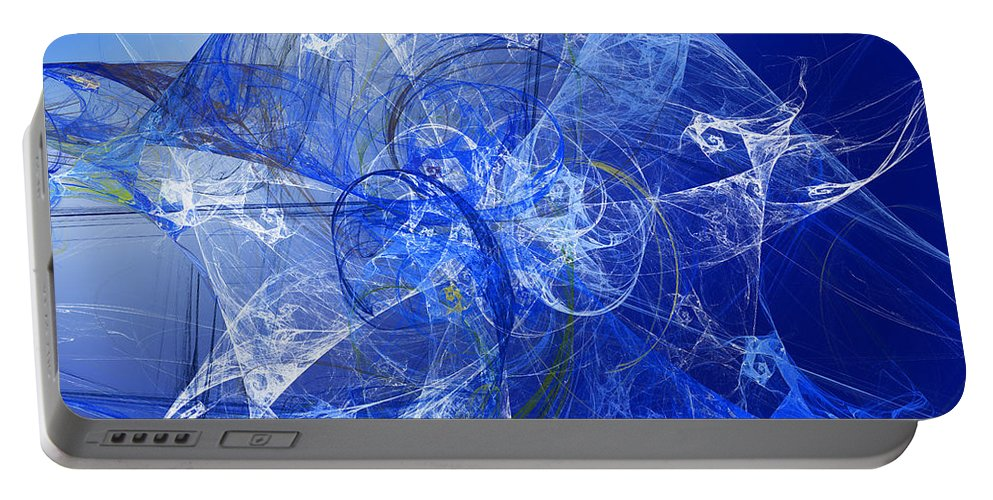 Abstract Portable Battery Charger featuring the digital art Sapphire In Blue Lace by Andee Design