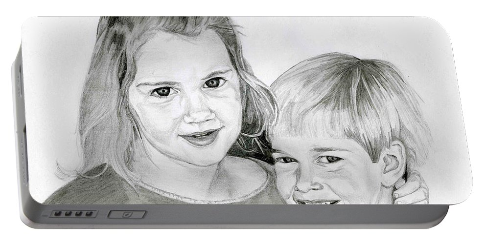 Brother Portable Battery Charger featuring the drawing Sarah And Matt by Tamir Barkan