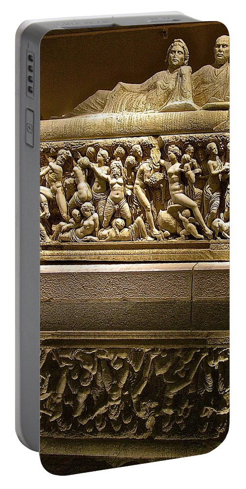 Sarcophoghus Reflected In Antalya Archeological Museum Portable Battery Charger featuring the photograph Sarcophoghus Reflected In Antalya Archeological Museum-turkey by Ruth Hager