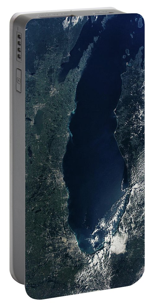 Photography Portable Battery Charger featuring the photograph Satellite View Of Lake Michigan by Panoramic Images