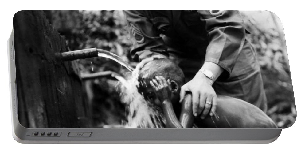 Montagnard Portable Battery Charger featuring the photograph Saturday Bath by Norman Johnson