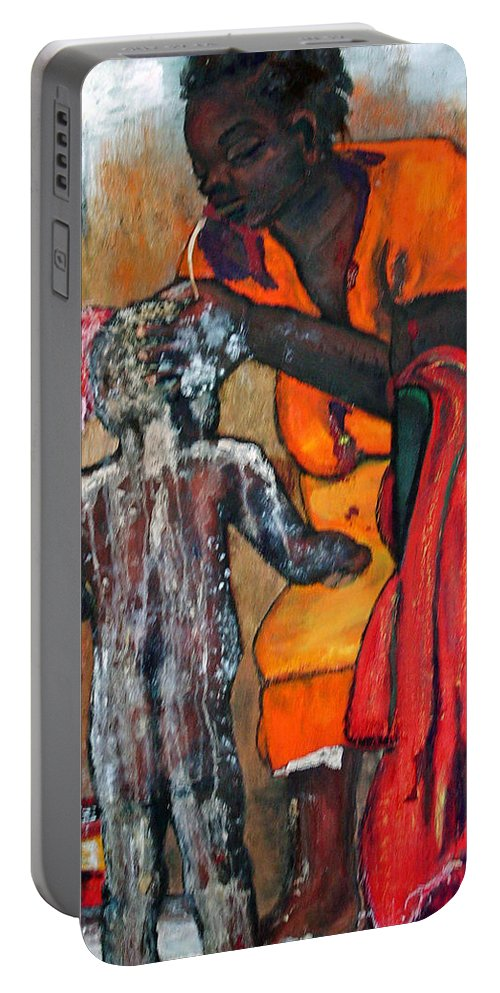 Mom Bathing Boy Portable Battery Charger featuring the painting Saturday Night Bath by Peggy Blood