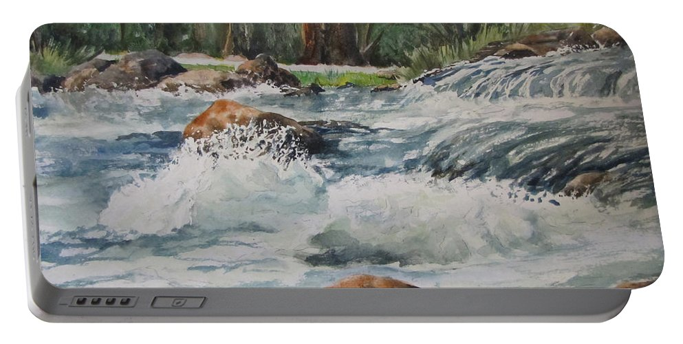 Waterfalls Portable Battery Charger featuring the painting Sauble Falls by Bev Morgan