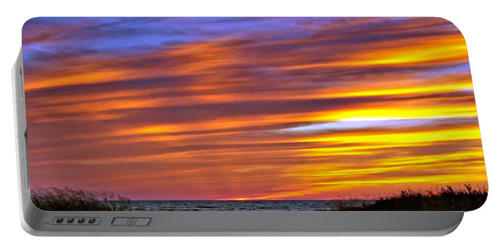 Sunset Portable Battery Charger featuring the photograph Sauble Sunset by Steve Harrington