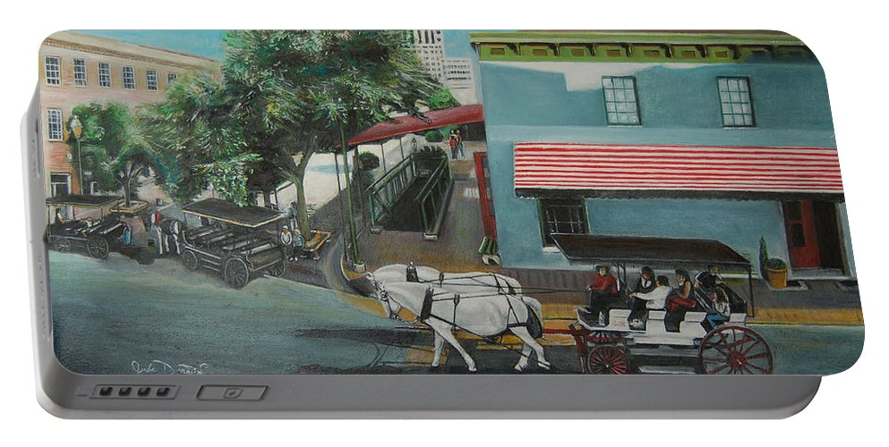 Portable Battery Charger featuring the painting Savannah City Market by Jude Darrien