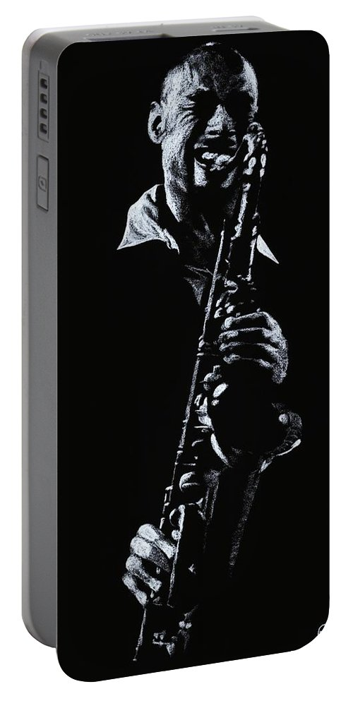 Musician Portable Battery Charger featuring the drawing Sax Player by Richard Young