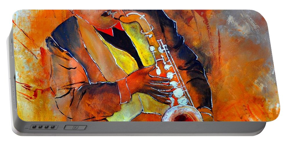 Sax Portable Battery Charger featuring the painting Saxplayer 88 by Pol Ledent