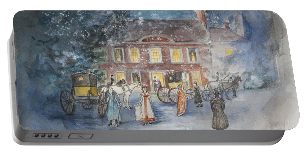 Jane Austen Portable Battery Charger featuring the painting Scene From Jane Austens Emma by Caroline Hervey Bathurst
