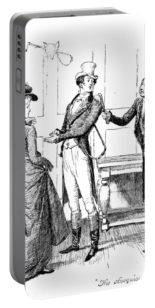 Obsequious Civility; Illustration; Pride And Prejudice; Jane Austen; Mr; Collins; Attentions; Mr; Darcy; Elizabeth Bennet; Bennett; Fawning; Sycophantic; Clergyman; Clergy; Vicar; Georgian; Regency; Costume; Riding Gear; Lovers; Couple; Character Portable Battery Charger featuring the drawing Scene From Pride And Prejudice By Jane Austen by Hugh Thomson
