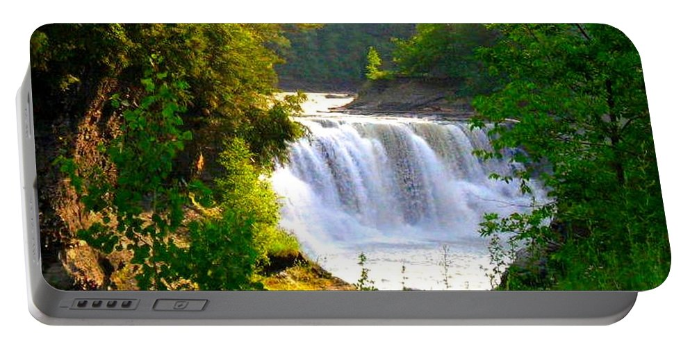 Falls Portable Battery Charger featuring the photograph Scenic Falls by Rhonda Barrett