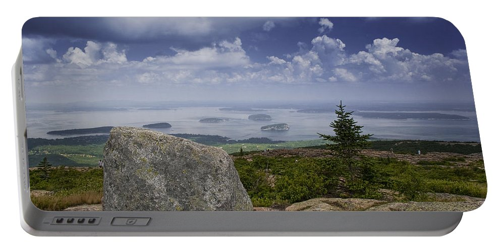 Art Portable Battery Charger featuring the photograph Scenic View With Boulder On Top Of Cadilac Mountain by Randall Nyhof