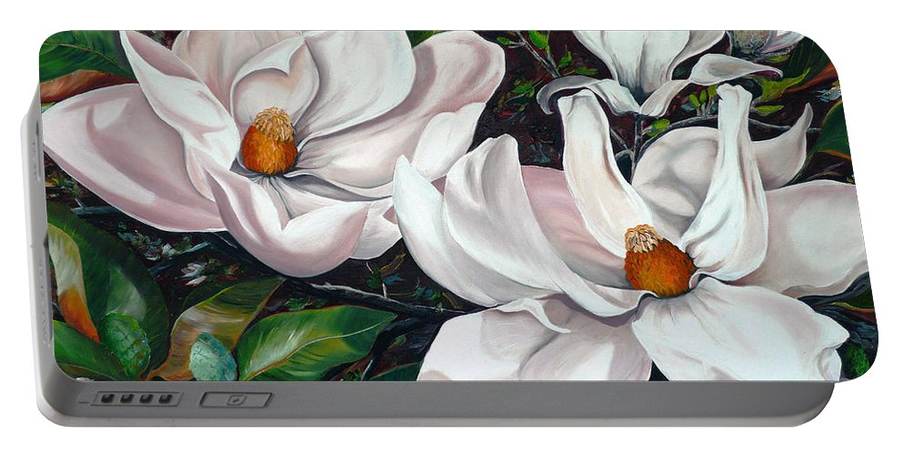 Magnolia Painting Flower Painting Botanical Painting Floral Painting Botanical Bloom Magnolia Flower White Flower Greeting Card Painting Portable Battery Charger featuring the painting Scent Of The South. by Karin Dawn Kelshall- Best