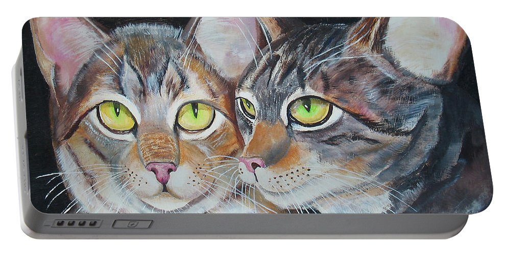 Cats Portable Battery Charger featuring the painting Scheming Cats by Thomas J Herring