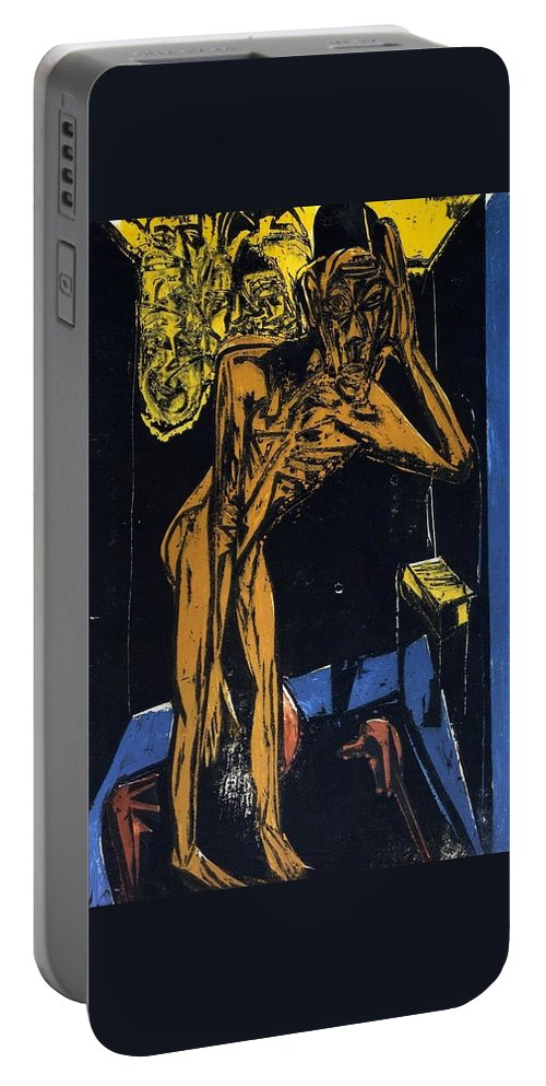 1915 Portable Battery Charger featuring the painting Schlemihls In The Loneliness Of The Room by Ernst Ludwig Kirchner