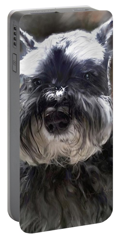 Dogs Portable Battery Charger featuring the painting Schnauzer Portrait by Portraits By NC