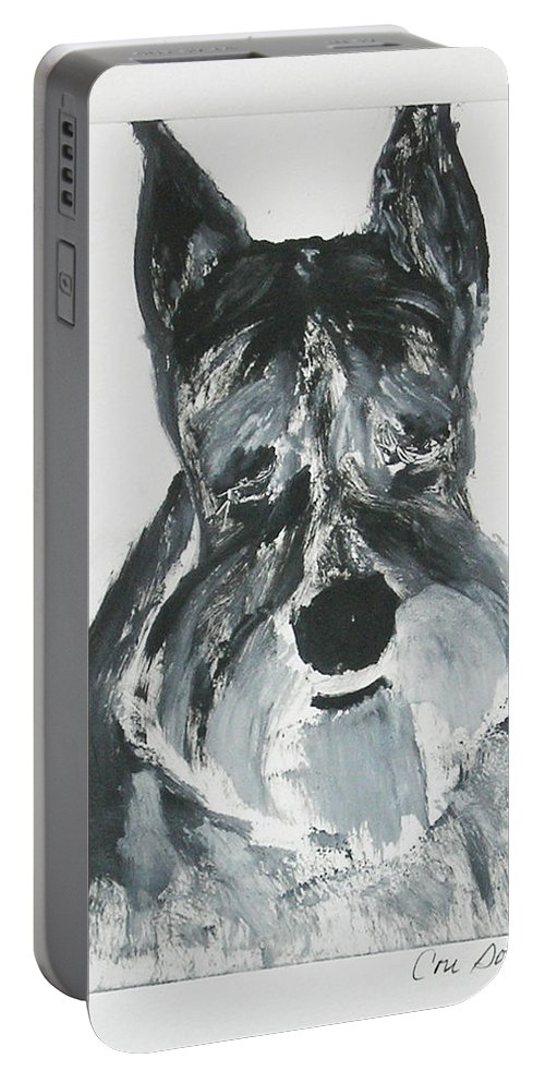 Dog Portable Battery Charger featuring the mixed media Schnauzing Around by Cori Solomon