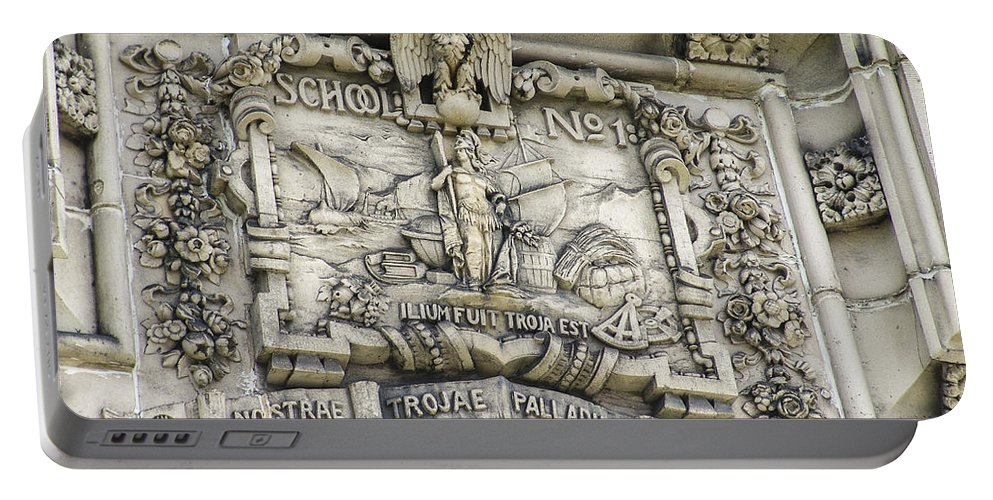 Carved Stone Portable Battery Charger featuring the photograph School Crest by Eric Swan