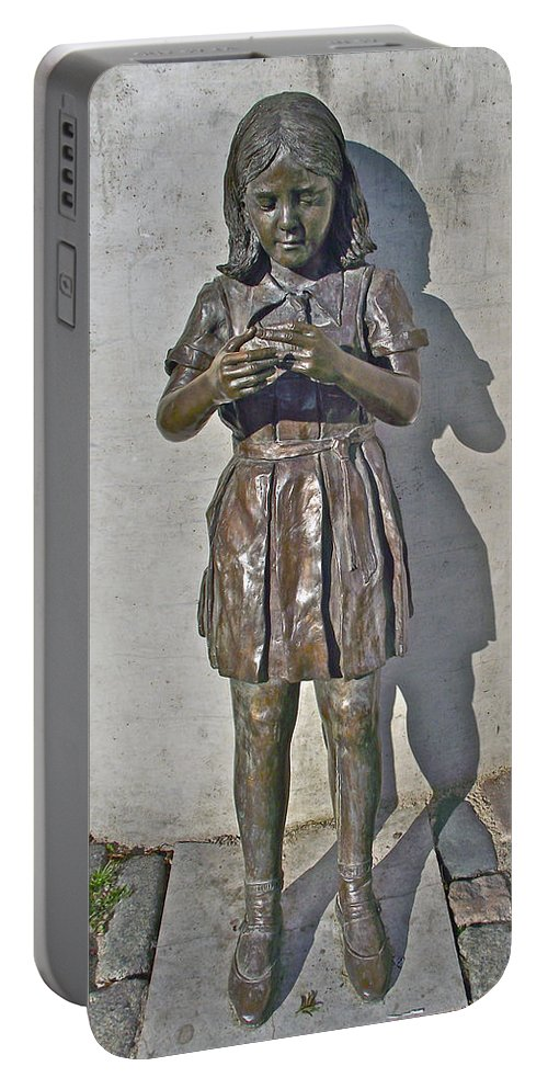 School Girl Sculpture In Saint John's Portable Battery Charger featuring the photograph School Girl Sculpture In Saint John's-nl by Ruth Hager