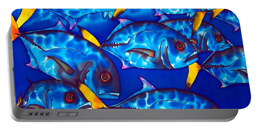 Reef Fish Portable Battery Charger featuring the painting Schooling Jack Fish by Daniel Jean-Baptiste