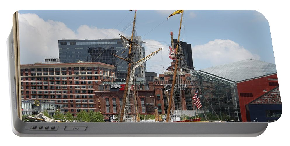 Harbor Portable Battery Charger featuring the photograph Schooner Arriving At Baltimore Inner Harbor by Christiane Schulze Art And Photography