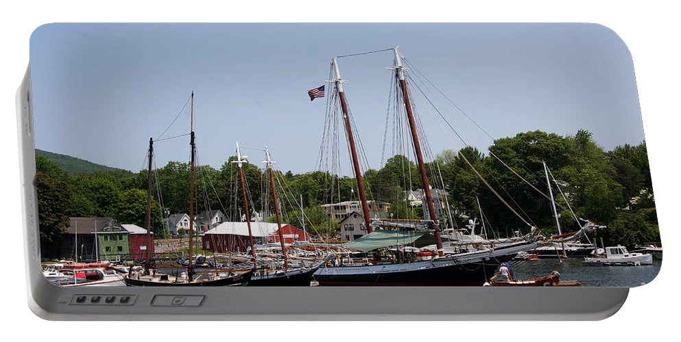 Schooner Portable Battery Charger featuring the photograph Schooner - Camden Harbor - Maine by Christiane Schulze Art And Photography